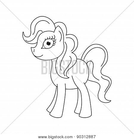 Vector illustration of cute pony, coloring book page