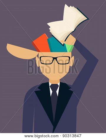 Education. Businessman putting book in head. Vector illustration