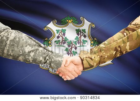 Military Handshake And Us State Flag - Connecticut