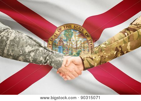 Military Handshake And Us State Flag - Florida