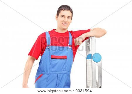 Worker leaning against ladder isolated on white background