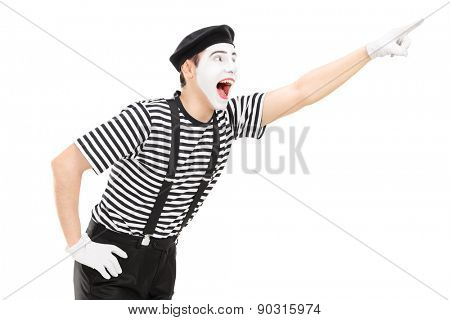 Mime artist pointing up with his hand isolated on white background