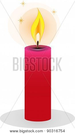 Isolated burning candles on white background