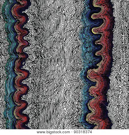 Monochrome seamless waves hand-drawn pattern