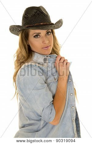 Cowgirl With Long Blond Hair Hold Shirt Black Hat Look