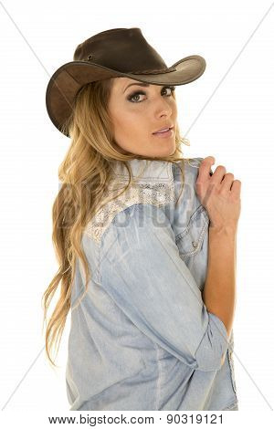 Cowgirl With Long Blond Hair Side Look