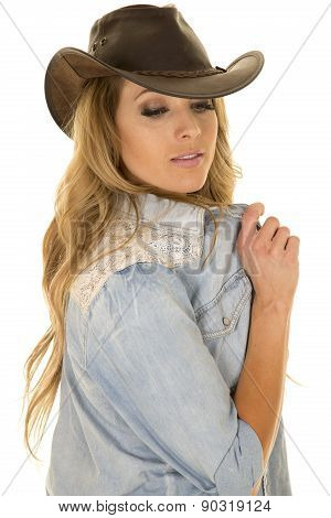 Cowgirl With Long Blond Hair Hold Shirt Look Down