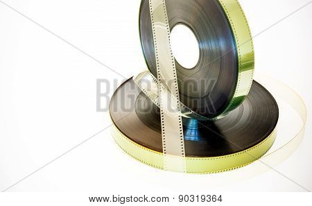 35 Mm Movie Film Reels  Vintage Color Effect On White