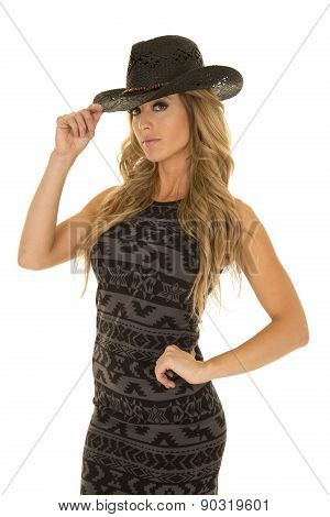 Woman In Black And Gray Dress Hand On Cowgirl Hat