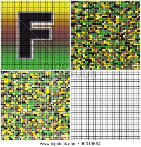 Letter F (mixed Mosaic)