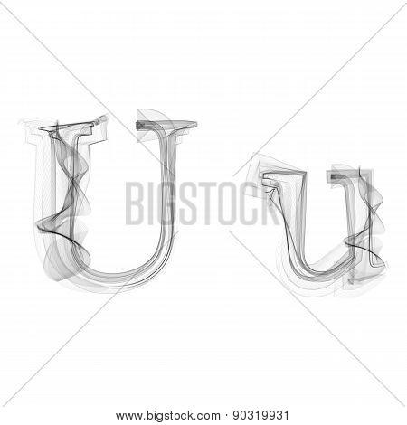 Black Smoke font. Letter U