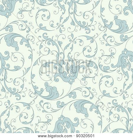 Baroque floral pattern, blue