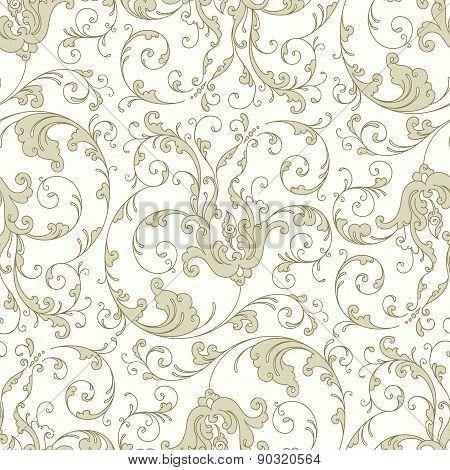 Baroque floral pattern, beige