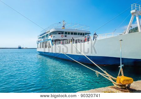 Docked Greek Ferry in painted blue-white colors