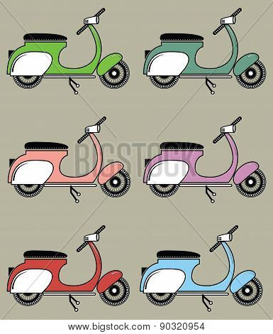 Vintage scooters II on the cappuccino color background