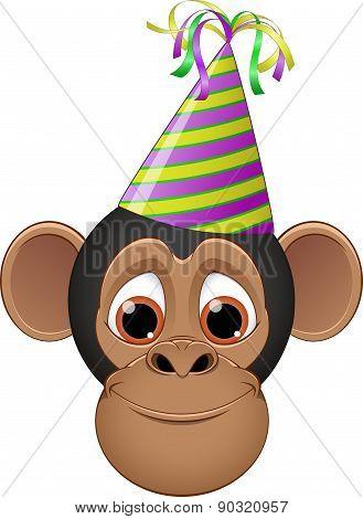 Head chimpanzee in a cap