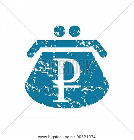 Grunge ruble purse icon