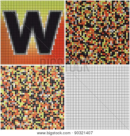 Letter W (mixed Mosaic)