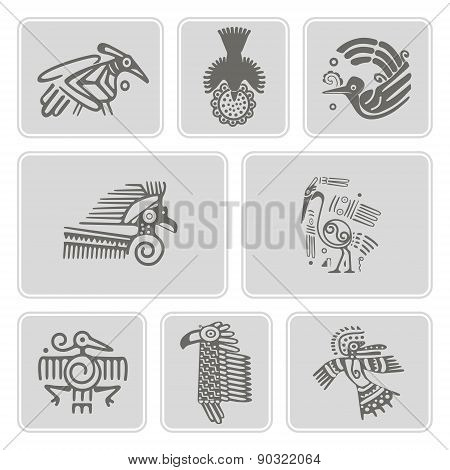 set of monochrome icons with American Indians relics dingbats characters (part 6)