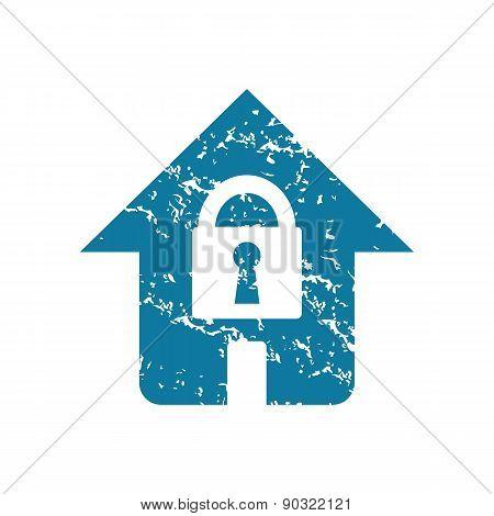 Grunge locked house icon