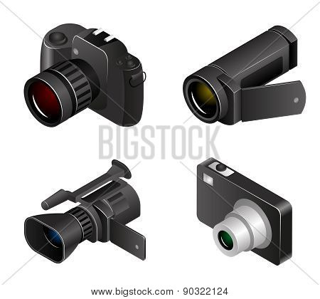 Vector Camera. Photos and videos 3d realistic style