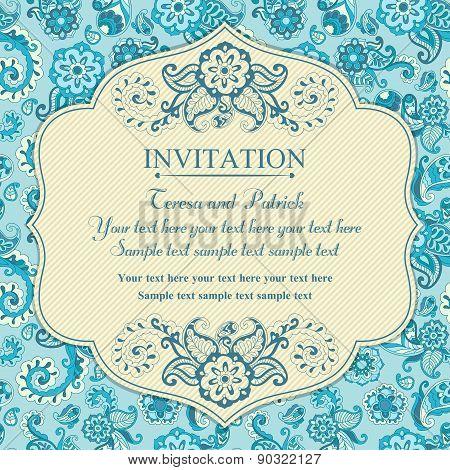 Invitation in east turkish style, blue