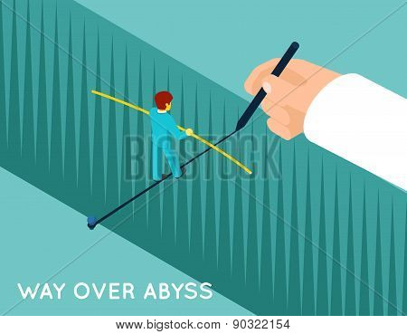 Hand drawing way over abyss for businessman