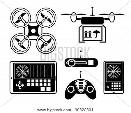 Vector quadrocopter or drone icon set