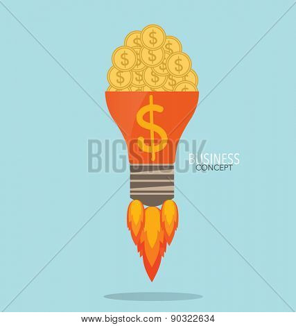Light bulb with money coins and Money coins on hand. Modern Flat design vector illustration concept.