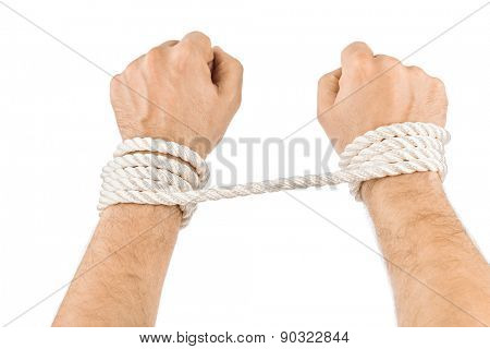 Bound hands isolated on white background