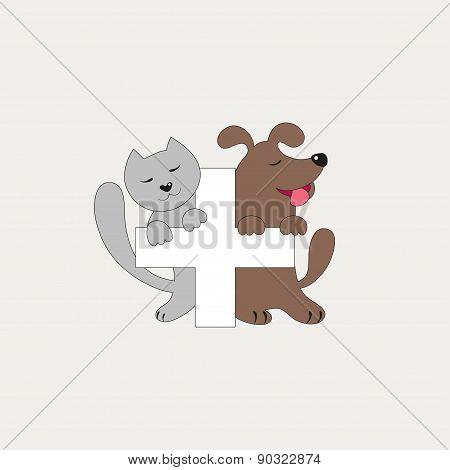 Veterinary cross, cat and dog logo