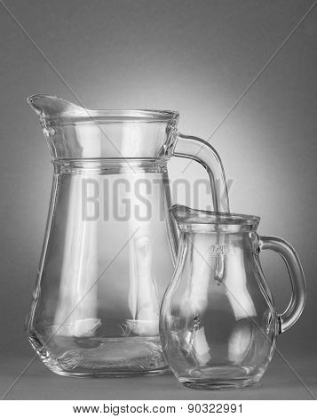 Glass, empty jugs