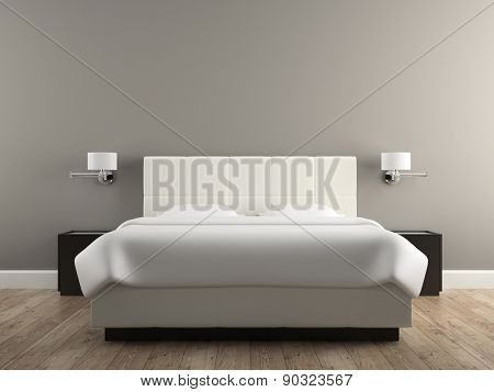 Interior of the modern design  bedroom 3D rendering