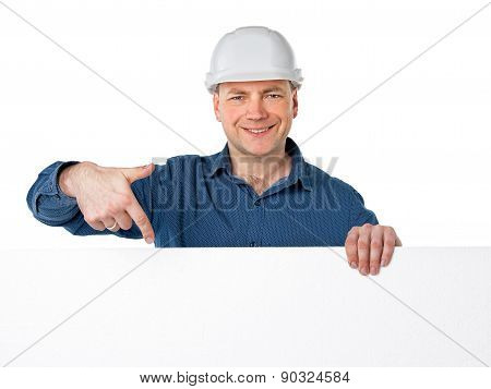 a man in a construction helmet
