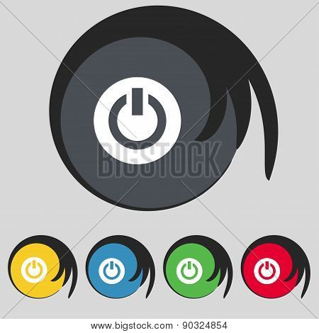 Power,  Switch On, Turn On  Icon Sign. Symbol On Five Colored Buttons. Vector