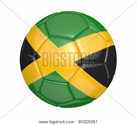 Soccer ball, or football, with the country flag of Jamaica