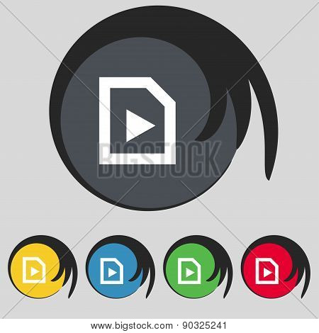 Play Icon Sign. Symbol On Five Colored Buttons. Vector
