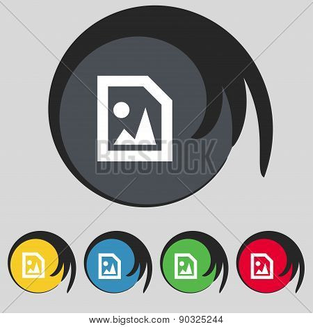 File Jpg Icon Sign. Symbol On Five Colored Buttons. Vector