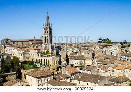 The Bell Tower Of The Monolithic Church In Saint Emilion, Bordeaux, France