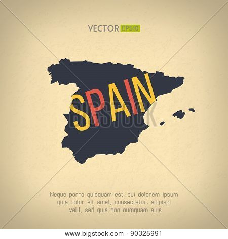 Vector spain map in vintage design. Spanish border on grunge background. Letters are not cut and eas