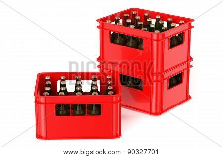 Red Crate Full With Beer Bottles