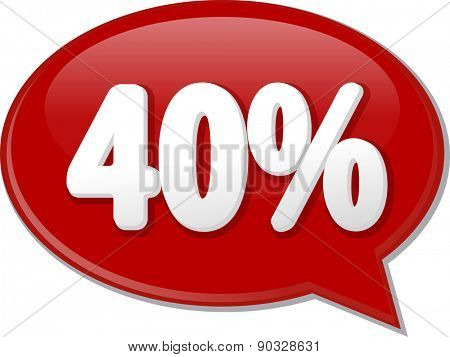 Word speech bubble illustration of discussion forum blog percent discount forty 40
