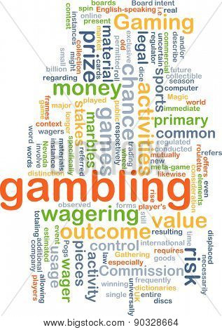 Background concept wordcloud illustration of gambling