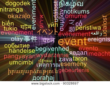 Background concept wordcloud multilanguage international many language illustration of event glowing light