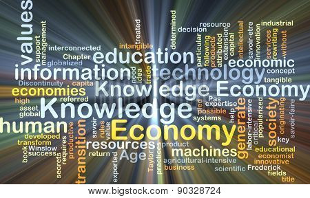 Background concept wordcloud illustration of economy knowledge glowing light