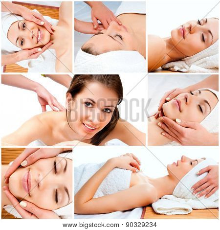 photo collage of a beautiful young girl doing facial massage