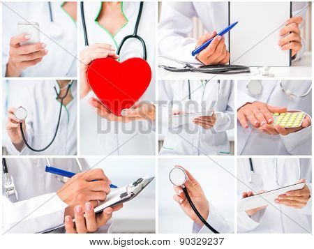 photo collage of a woman doctor in a white lab coat with stuff