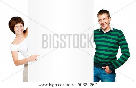 beautiful girl and the young man shows on a white banner