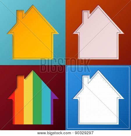 Set of four simple, abstract house backgrounds.
