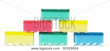 Sponges stack isolated on white